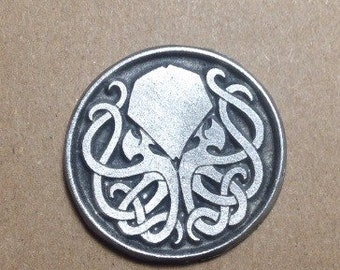 Cthulhu coin classic and inverse, aged pewter finish D2