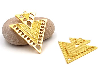 2 45mm color gold plated triangle arrow charms