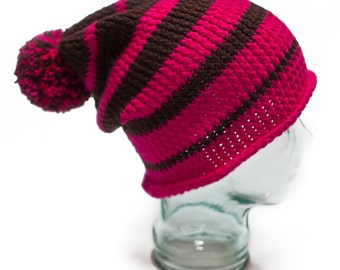 Baggy Slouch Beanie Striped Bobble Winter Ski Hat. Pink. Snowboard.