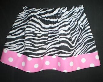 Girls Skirt Zebra Print with Pink Polka Dot Trim