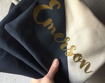 Personalized name color block Zipper Pouch Clutch Make up bag diaper bag accessory Custom colors navy blue gold