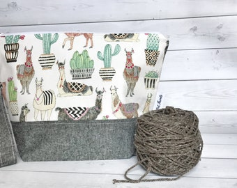 Sweater Size Project Bag/Large Knitting project bag/ Project Bag/Knitting Bag/Crochet bag/Project Bag/Zipper Bag/Knitters/Crocheters- Llama