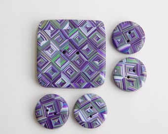 "Polymer Clay Buttons, 1 1/4"" square button, 5/8"" (16 mm) buttons"
