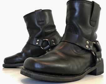 Motorcycle boots  Harness boots  Biker boots  Black Leather boots  Riding boots  Mens size 9