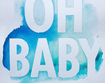 Oh Baby Blue Watercolor Abstract Painting