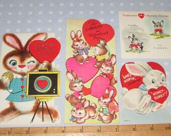 Vintage Valentine Lot of 4 Cards Bunny Rabbit Bunnies (S)