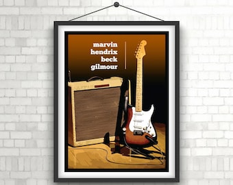 FENDER STRATOCASTER  |  Legends Of Tone  |  Guitar Art Poster Print