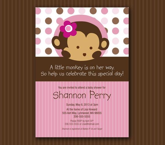 Pink Monkey Baby Shower Invitation Matches Mod Pod Pop Monkey