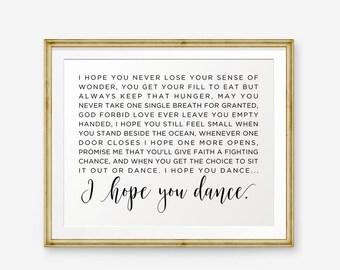 I Hope You Dance Lyrics Printable, I Hope You Dance Lyrics, Song Lyrics art, Dancing theme, Home Decor, nursery Decor, Retro printable