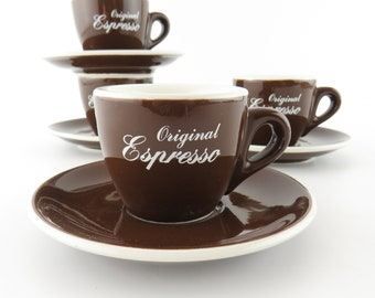 Vintage ACF Barista Original Espresso Cups and Saucers Italy Set Of 4  Brown and White Interior Ceramic Stoneware Retired