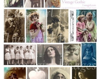 VINTAGE GOTHIC digital collage sheet flappers photos images women girls dark spooky romantic Victorian Edwardian postcards ephemera DOWNLOAD