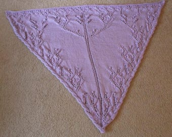 Shawl - Handknitted Triangle Shawl - Wrap around your Shoulders - Knitted with Lavender Acrylic Yarn