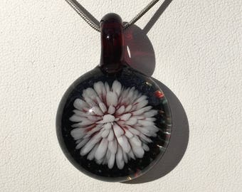 White and Red Chrysanthemum Implosion Pendant Handmade Blown Glass Necklace