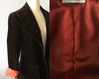 1970's Brown Velvet Blazer with Copper Lining and Pockets by Scotland House LTD