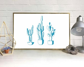 Cactus Digital Art Print (Set of 3 + BONUS)