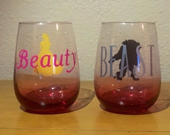 Beauty and the Beast stemless wine glasses