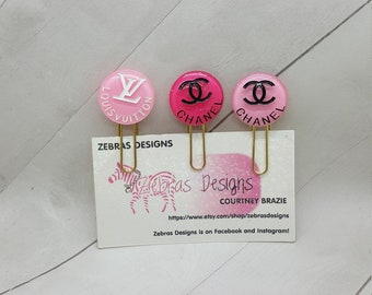 Fashion logo planner clip, paper clip, bookmark, planner accessories  (PC064)