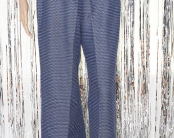 Vintage Blue and White Elastic Waist Jogger Pants (6)