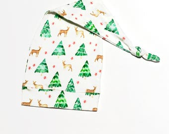 Reindeer Baby Hat. Christmas Tree Baby Hat. Organic Santa Style Long Baby Cap. Gender Neutral Christmas Hat. Baby Boy Xmas Hat. Baby Hat