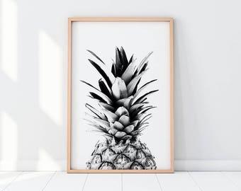 Pineapple, Black And White Pineapple, Pineapple Art, Pineapple Print, Kitchen Wall Art, Pineapple Wall Art, Kitchen Décor, Pineapple Poster