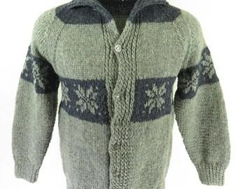 Vintage 80s Snowflake Sweater Mens M Cardigan Downhill Skier Pewter Wool [H49U_2-3_Shelf]