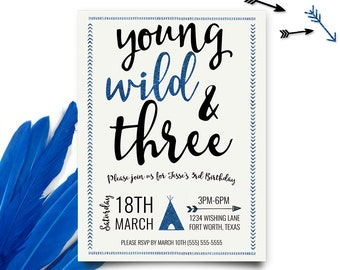 Young Wild and Three Invitations, Boy Young Wild and Three Birthday, Third Birthday Invitation, Boy Third Birthday, Printable Invitation