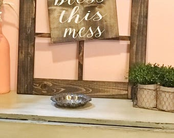 Bless this mess hanging sign/wood sign/home decor/rustic signs/for the home/gifts for her