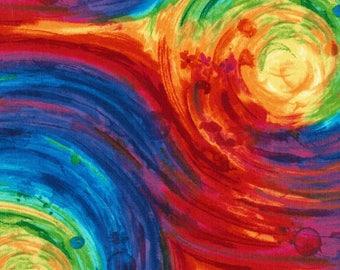 Fantasy, Swirl Fabric, Multi colored swirls, Spiral Fabric, by Timeless Treasures, C5755