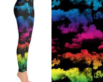Rainbow Clouds, Rainbow Leggings, Cloud Leggings, Rave Clothing, EDM Clothing, Funky Leggings, Unique Leggings, Designer Leggings