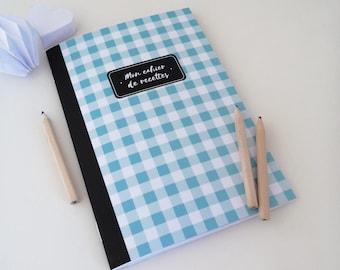 Blue gingham 14x20cm recipe book