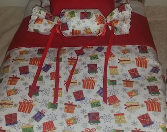 Handmade bedding set for 18 inch doll bed, fits american girl doll bed and IKEA bed.