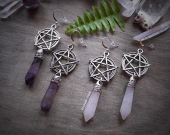 Earrings silver pentagram pendant, amethyst, rose quartz, halloween earrings, crystal earrings, birthstone january february october
