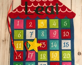 Countdown to Christmas, advent calendar, Countdown to Holiday, countdown felt wall hanging