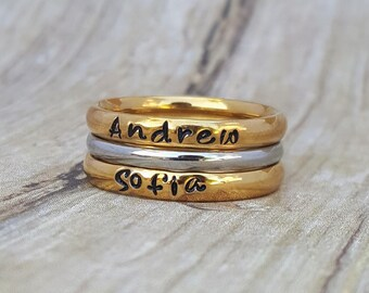 Gold Stacking Rings, Name Ring, Stackable Personalized Ring, Mothers Ring, Personalized Mothers Ring, Custom Jewelry, Hand Stamped Ring