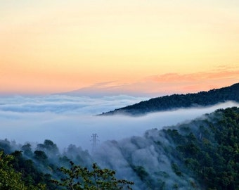 Blue Ridge Parkway,CANVAS Wrap, BRP, Smoky Mountains, Blue Ridge Photography, Pounding Mill, Smoky Mt,Wall Art, ,Sunrise, Fog,Mountain Photo