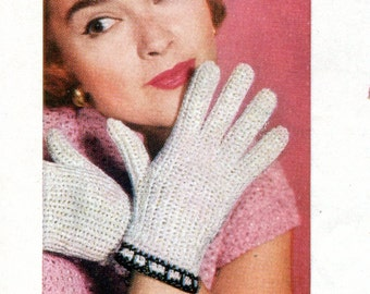 1950's Vintage Crocheted Lady's Gloves  PDF Pattern Instant Download