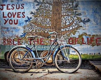 old blue bicycle, outsider art photography, bike decor, Jesus Loves You, folk art Tree of Life, Salvation Mountain