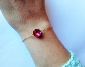 Pink bracelet, light pink bracelet, Light rose bracelet, rose bracelet , pink jewelry, gold dainty bracelet, minimalist bracelet