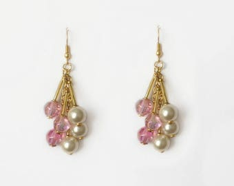 Retro 1970's Gold Pink Iridescent Faceted Beads Pearl Bars Dangle Drop Statement Earrings
