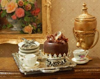 Handmade Medium Silver Crown Pedestal Cake Stand with Crown Edging, Miniature 1:12 scale Dollhouse decor Bakery, Cake Plate Dish Tray