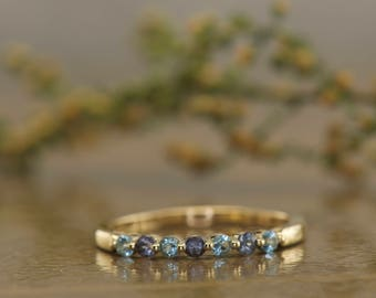 Alexandrite and Blue Topaz Single Prong Band in 14k Yellow Gold, Single Shared Prong Setting, 2mm Wide, 0.21ctw, Gemstone Band, Brooke AB