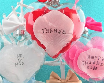 Personalised Petal Bauble Hanging Decoration. You Choose Petal & Bow Colours. Name Date Keepsake for Birthday Wedding Mothers Day Engagement