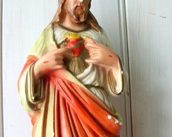 Vintage Jesus Christ Plaster Chalkware Statue Souvenir of Escanaba Michigan