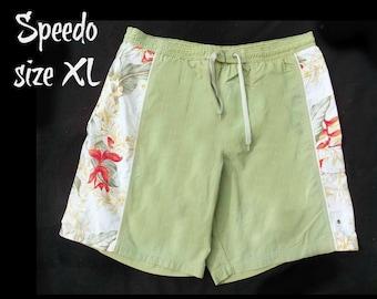 vintage Speedo swim trunks - green swim trunks, swim shorts, surf shorts, men's summer shorts,  swim trunks,  size XL,   # 23