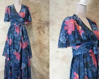 70s Floral Dress, Vintage Floral Print Dress, Wedding Guest Dress, Summer Dress, Hippie Boho Bohemian Festival Dress, Size M, Medium