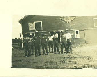 Farmers Men in Overalls Red Barn Antique RPPC Real Photo Postcard Photograph Black White Photo