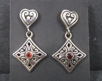 Vintage Sterling Garnet Heart Earrings