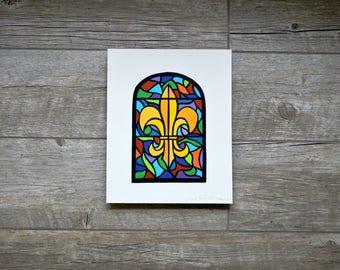 "Colored Stained Glass Paper Cut Original Art - Hand Cut 8""x10"""