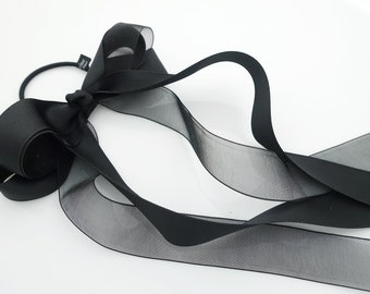 Satin Mesh Organdy combined Black hair bow hair tie ponytail holder