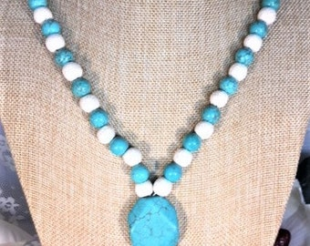 Compressed Turquoise Beaded Tassel Necklace with Lava Beads
